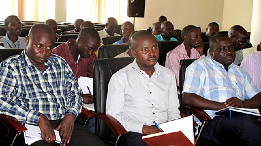 Farmers and district officials at the coffee quality workshop in Rwamagana yesterday.  The New Times/ Stephen Rwembeho