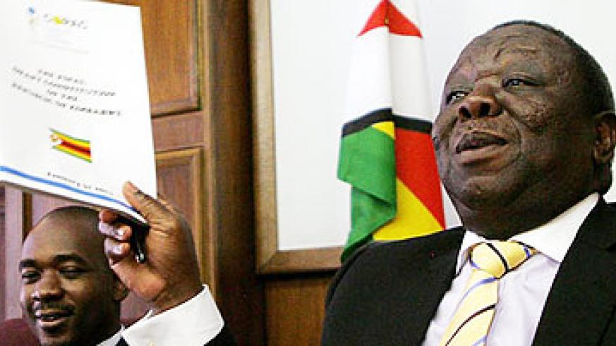 Zimbabwe Prime Minister and MDC leader Morgan Tsvangirai speaks to church leaders who were gathered at his offices during a meeting focused on the final draft constitution in Harare.  ....