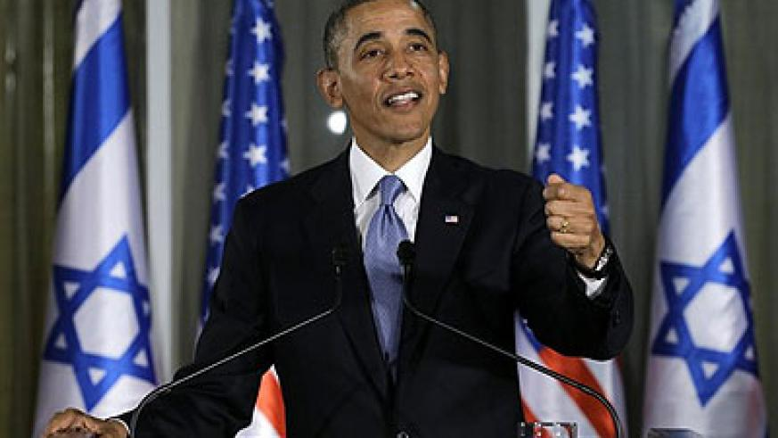 President Barack Obama gestures as he speaks during a joint news conference with Israeli Prime Minister Benjamin Netanyahu, Wednesday, March 20, 2013, at the prime minister's residen....