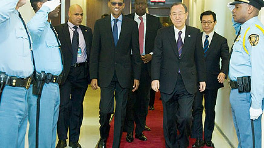 <p>President Kagame and Ban Ki-Moon  arrive for thier meeting at the UN Headquarters in New York on Wednesday. Behind them is Rwanda&rsquo;s State Minister for Cooperation and Permanen....