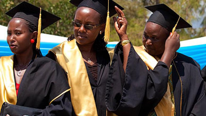 INILAK graduates during a past ceremony. Some institutions of higher education take months before giving their former students testimonials. The New Times/ Timothy Kisambira.