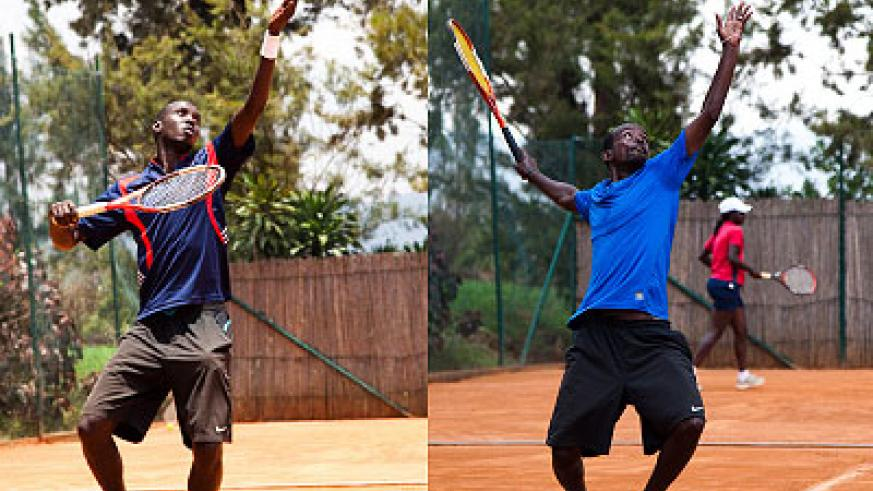 Gasigwa (left) is wary of the challenge posed by his close pal  Habiyambere (right) when the two clash in final of Rwanda Tennis Open today. Saturday Sport / File.