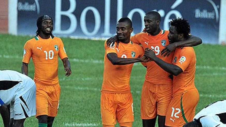 Wilfried Bony (R), Yaya Toure (C) and Salomon Kalou (L) struck as Ivory Coast defeated Gambia 3-0. Net photo.