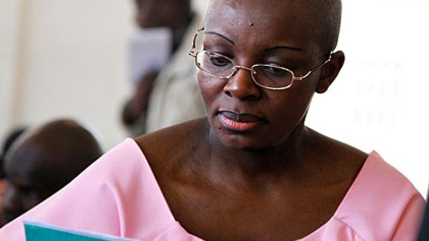Ingabire during one of her court sessions last year. The New Times/Timothy Kisambira.