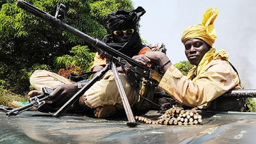 Séléka rebels in the Central African Republic patrol near the city of Damar in January. Net photo.