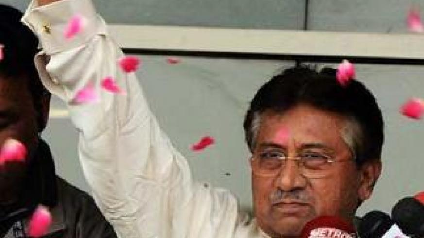 Pakistan's former President Pervez Musharraf speaks to the media upon his arrival from Dubai in southern Pakistani port city of Karachi on March 24, 2013. Net photo.