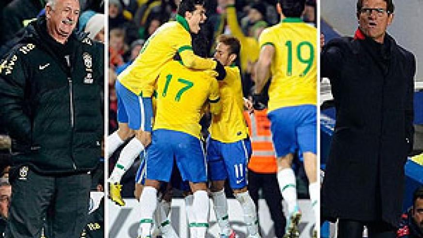 Fred strikes late to rescue draw for Scolari's (L) samba boys against Fabio Capello's (R)'s Russia at the Bridge. Net photo