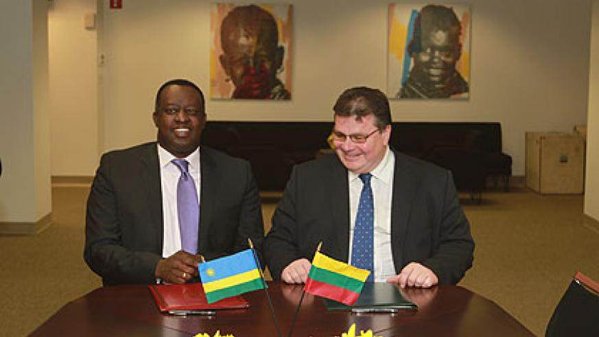 Amb. Gasana and Linkevicius after signing the agreement yesterday. The New Times/ Courtsey.