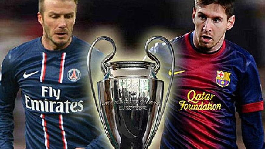 Lionel Messi (right) and David Beckham (left) square up in Champions League. Net photo