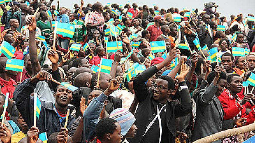 Nyamagabe residents welcome President Kagame during his visit to the district in February.  The NewTimes / courtesy.