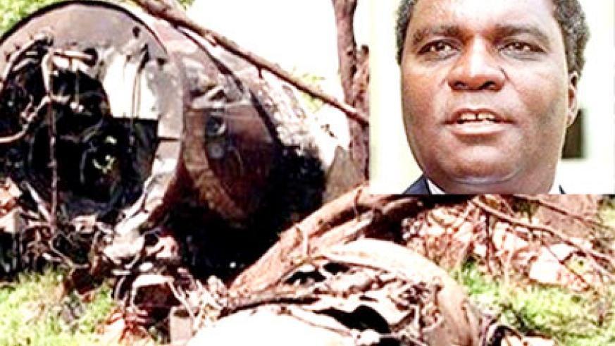 <p>The wreckage of Habyarimana's ill-fated Falcon 50 plane near the Kigali International Airport. Habyarimana (inset) was killed by members of his army, several investigations show, in....