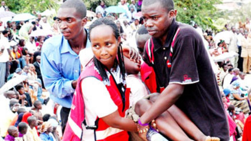 A trauma case at a past Genocide commemoration. The NewTimes / File.