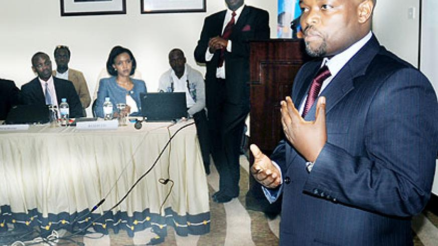 Youth and ICT minister Jean-Philbert Nsengimana (R) addresses participants at the launch of Microsoft4Afrika initiative in Kigali yesterday. The New Times/ J. Mbanda.