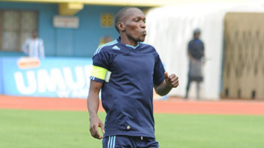 Striker Meddie Kagere has his eyes fixed on the Primus League title. The New Times /T. Kisambira.