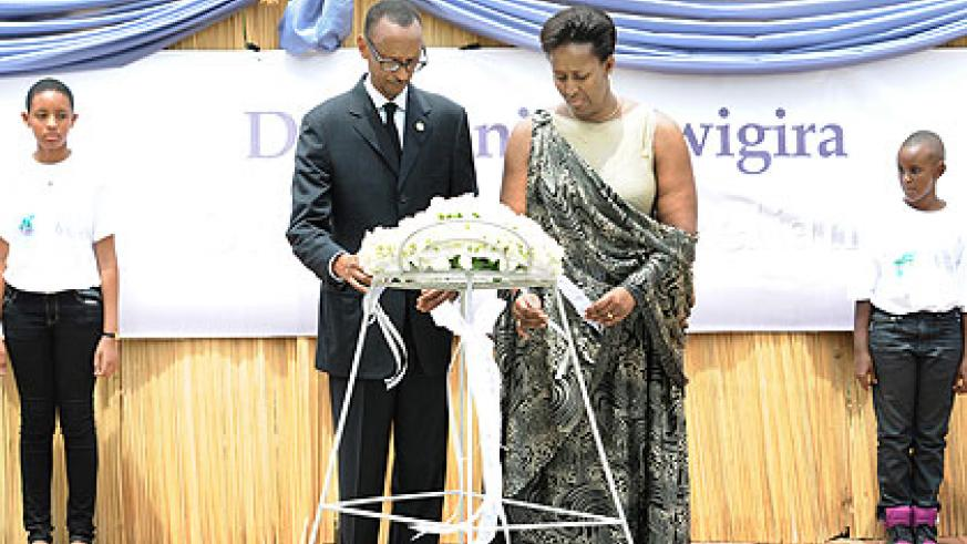 President Paul Kagame and First Lady Jeannette lay a wreath at the Genocide Memorial Centre in Gisozi yesterday. The New Times/  Village Urugwiro.