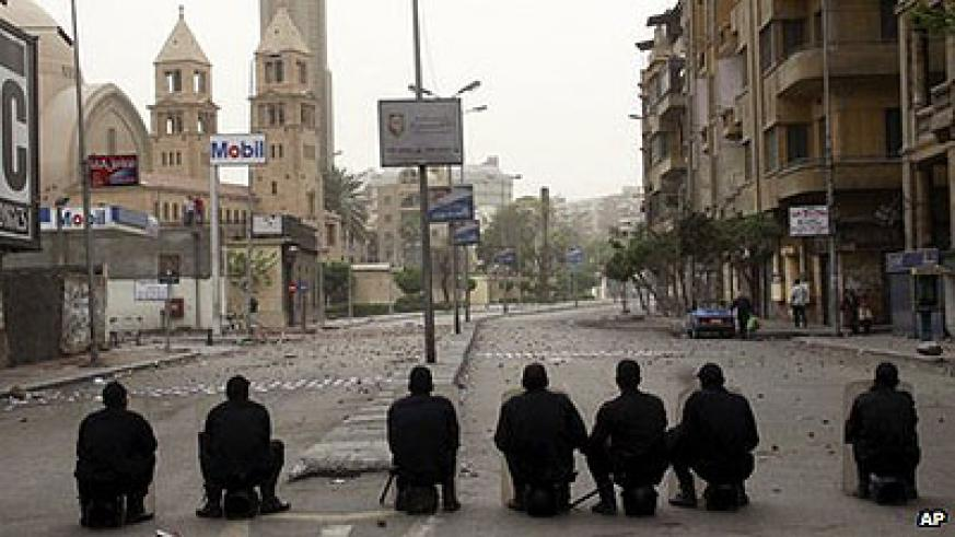 Egyptian police guard the approach to St Mark's Cathedral in central Cairo on Monday. Net photo.