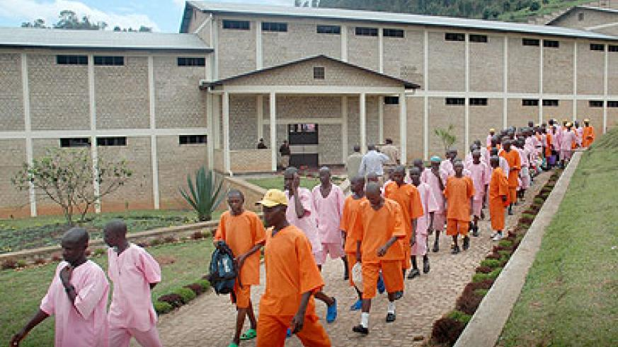 Inmates at Mpanga Prison.  Some prisoners are allowed to coach students. The New Times / File.