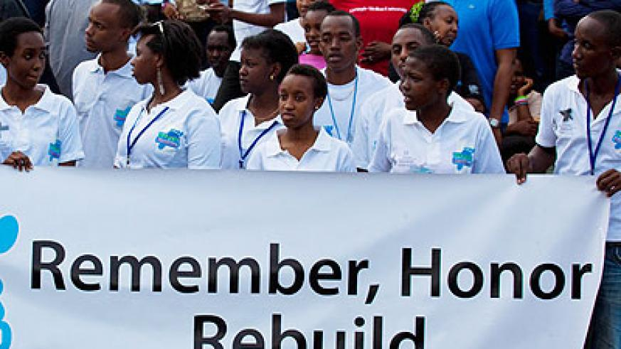 Students take part in the Walk to Remember march on Sunday. Education Times/ Timothy Kisambira.