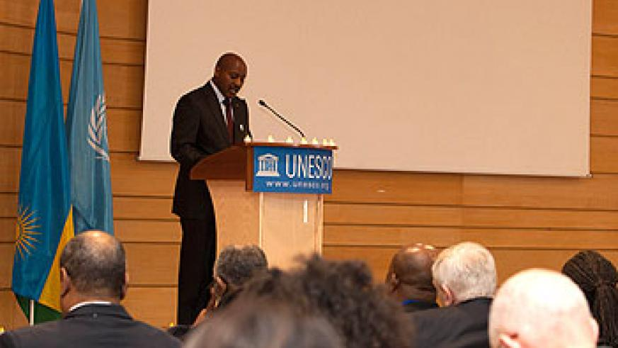 Ambassador Kabale delivers a speech at the Unesco headquarters in Paris. The New Times/Courtesy.