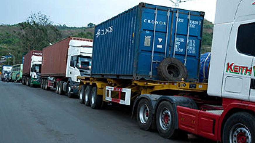 Trucks at Rusumo Border await clearance. The EAC Vehicle Control Bill and One-Stop-Border Posts bills will be discussed during the Assembly. The New Times/Timothy Kisambira.
