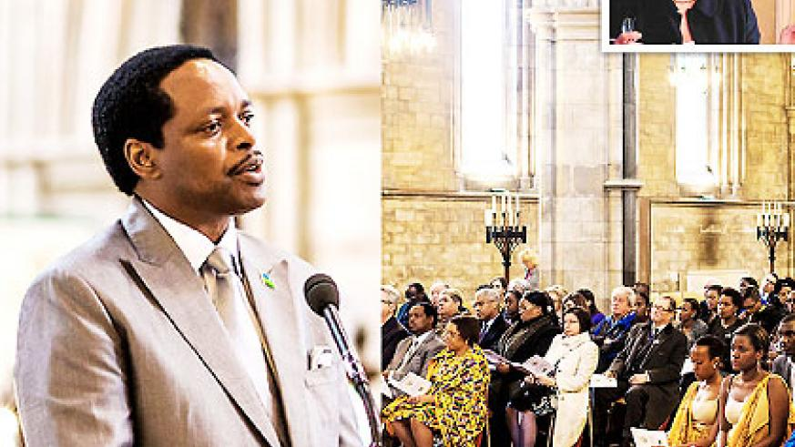 Nkurunziza (L) speaks during the event in Southwark Cathedral and congregates listen. Inset is Prof. Melvern. Courtesy photo.