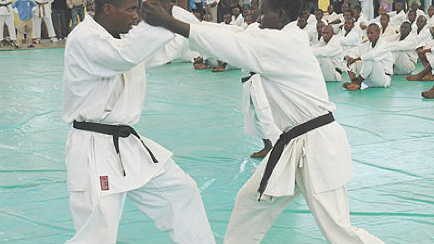 Karatekas during a past local competition. The New Times/Courtesy.