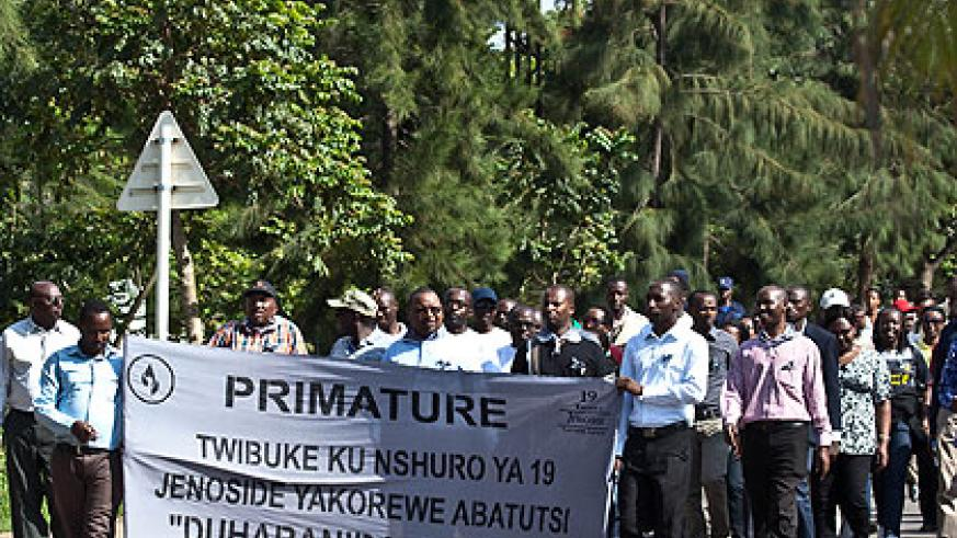 Staff of the Prime Minister's office in a Walk To Remember in honour of the victims of the 1994 Genocide against the Tutsi yesterday. At least 2,500 more remains of victims have been....