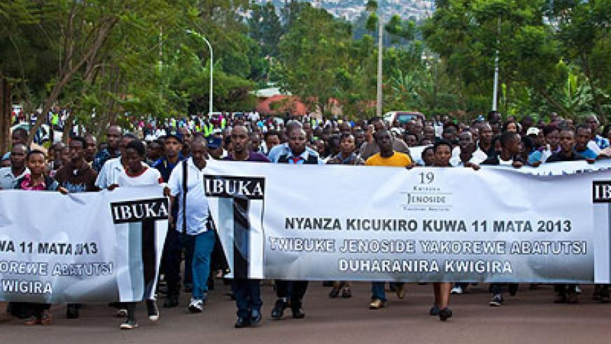 Mourners participate in a 'Walk to Remember' the victims of the 994 Genocide in Kicukiro.   SaturdayTimes/ Timothy Kisambira.