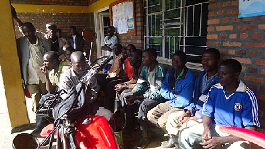 Some of the workers who camped at Kinyababa sector demanding for their wages.   The New Times/ J. Mbonyinshuti