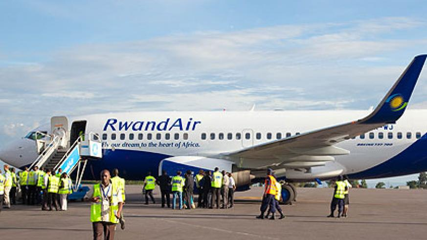The New Boeing 737-700 NG upon arrival at Kigali International Airport yesterday. The New Times/Timothy Kisambira.