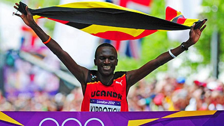 Stephen Kiprotich overcame the might of the Kenyans on his way to winning marathon gold at the London Olympics last year.  Net photo.