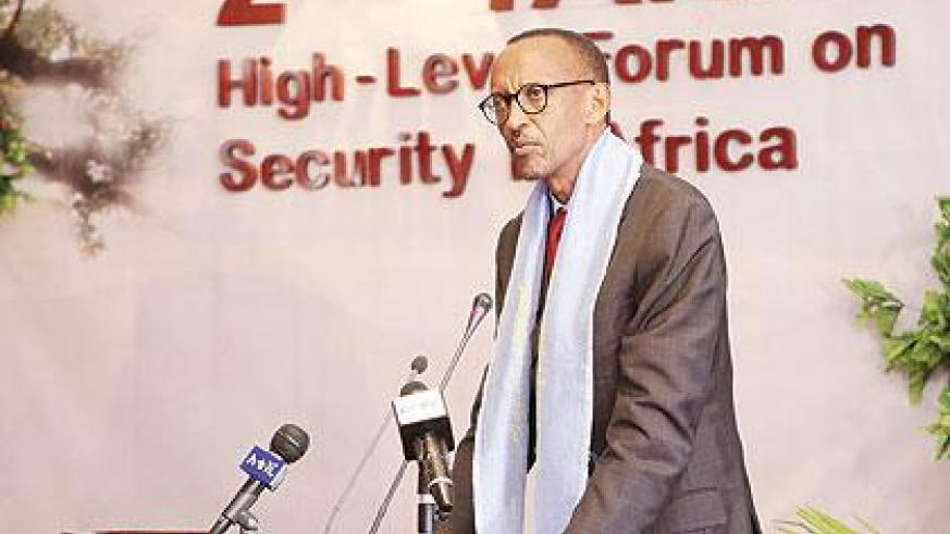 President Kagame delivers the keynote address at the Tana Security Forum in Bahir Dar, Ethiopia, yesterday. The Sunday Times/Village Urugwiro.