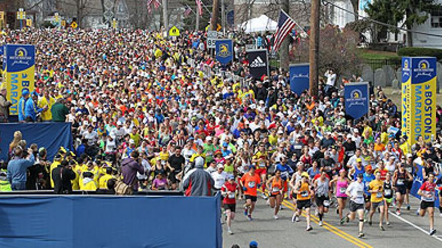 Participants in the Boston Marathon, it turned bloody after two bombs struck near the finish line. Net photo.