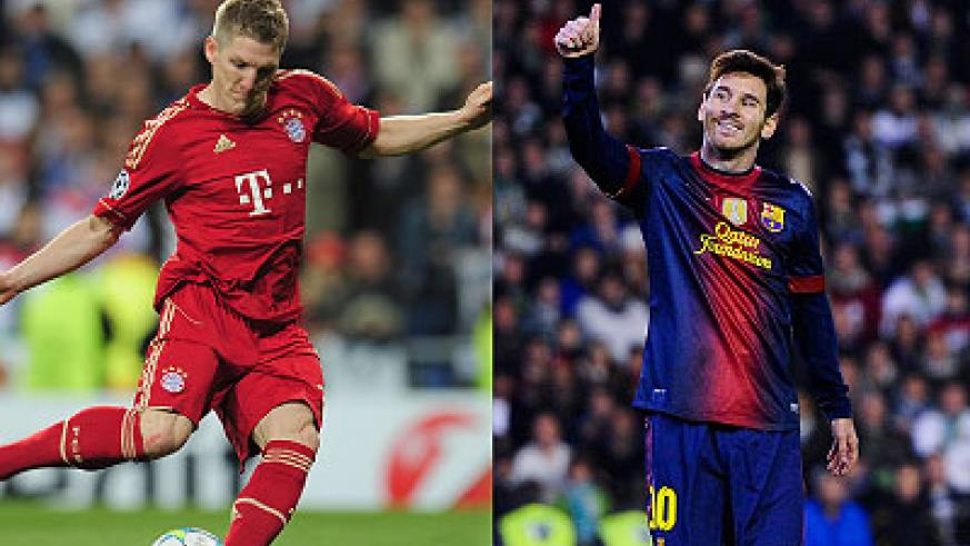Bastian Schweinsteiger  (L) will need to be on top of his game for Bayern against Lione Messi (R), who is in the Barca squad for the first leg clash in Germany. Net photo.