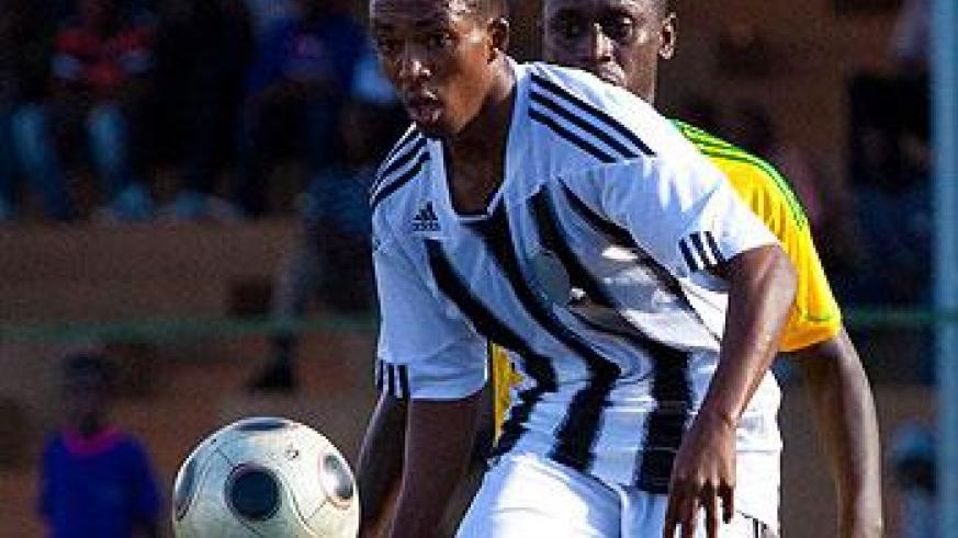 Maxime Sekamana opened the goal scoring rout against AS Kigali in a Primus League match yesterday at Stade de Kigali. The Sunday Times/T. Kisambira.