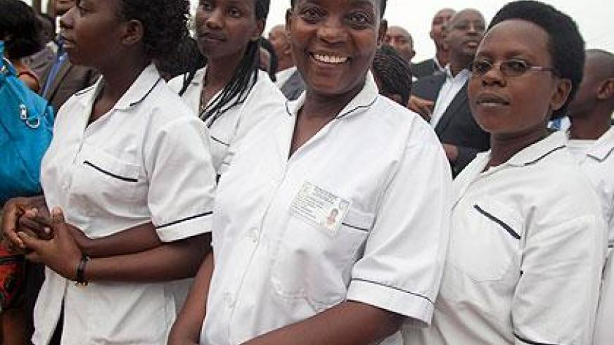 Students from Byumba school of Nursing and midwifery. Rwandan Schools of Nursing and Midwifery train an estimated 250 midwives annually. The Sunday Times / T. Kisambira.