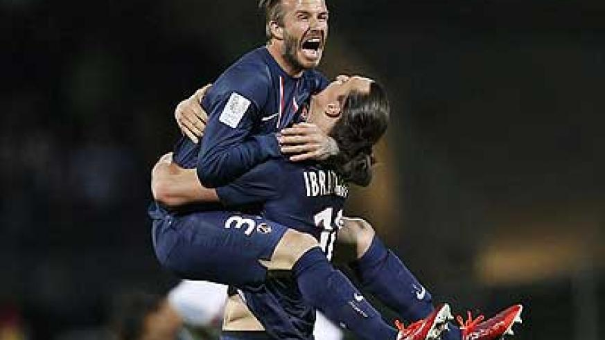 David Beckham and Zlatan Ibrahimovic show their delight at landing PSG's first title in 19 years. Net photo