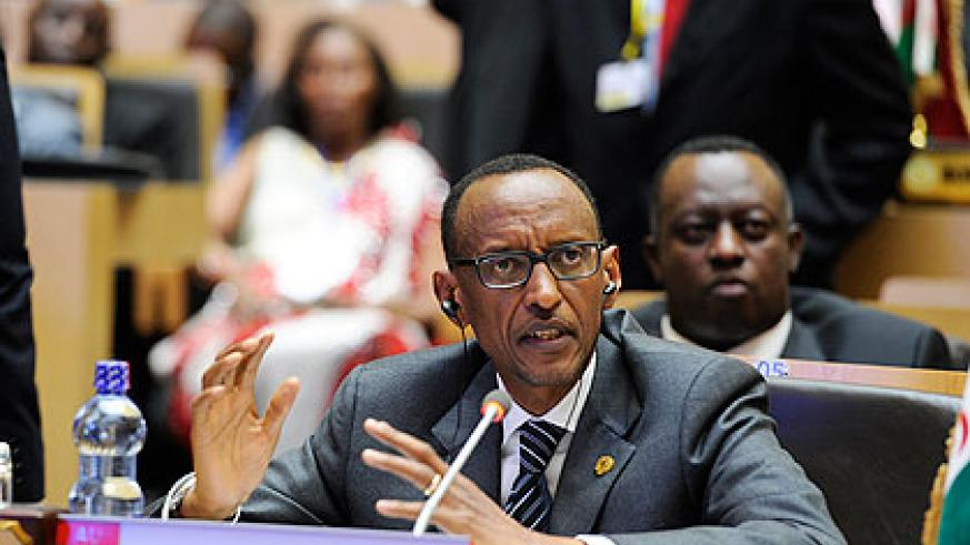 President Kagame speaks during the 21st Session of African Union Assembly in Addis Ababa, Ethiopia on Saturday. The New Times/ Village Urugwiro.