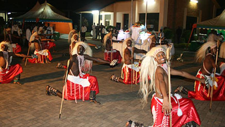 Inganzo Ngari's male dancers exhibited powerful energy on stage. The New Times / File