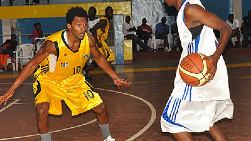 Uganda-based Kami Kabange (left) was the only foreign based senior player on the team that lost to Mozambique. The New Times/File