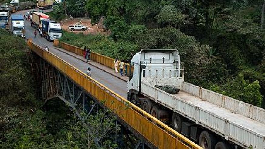 A truck crosses the current bridge that connects Rwanda and Tanzania at Rusumo. Construction of a new bridge is set to begin. Sunday Times/Timothy Kisambira
