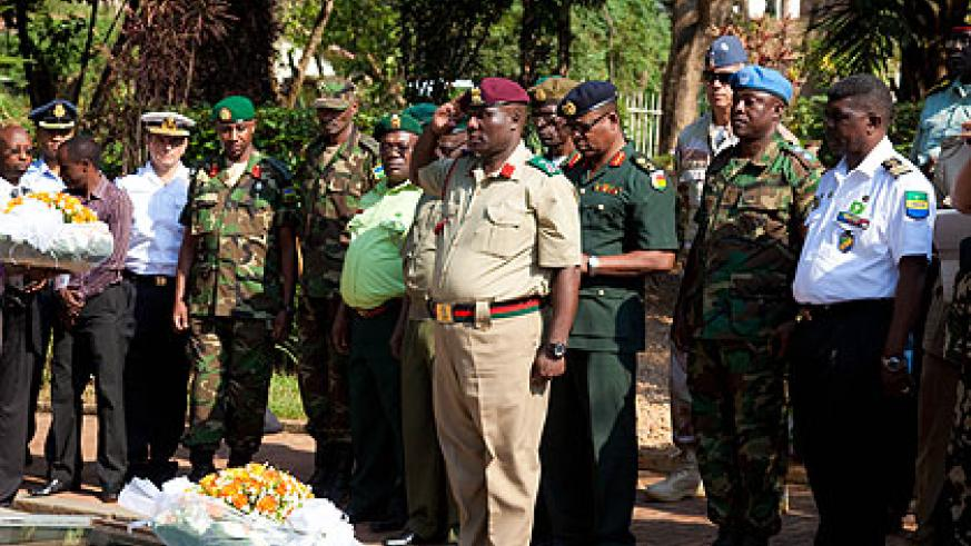 The military attachés pay tribute to Genocide victims at the  Kigali Genocide Memorial Centre yesterday. The New Times/ Timothy Kisambira.