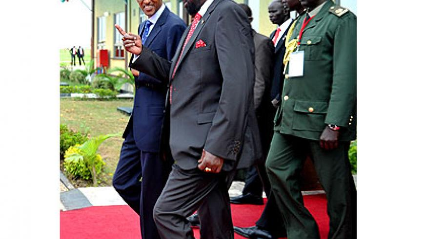 President Kiir (R) welcomes President Kagame to South Sudan. Kagame told South Sudanese that  independence was an opportunity for further regional and continental integration and calle....