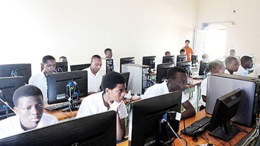 Some of the current students inside the school's computer lab. GS Ste Bernadette de Save is set to mark its 75th anniversary on July 28. The New Times/ Jean Pierre Bucyensenge.