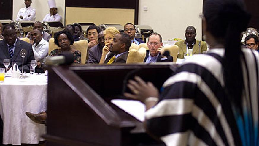 The Minister for Health, D. Agnes Binagwaho, addresses experts during a tuberculosis meeting in Kigali. The New Times/Timothy Kisambira