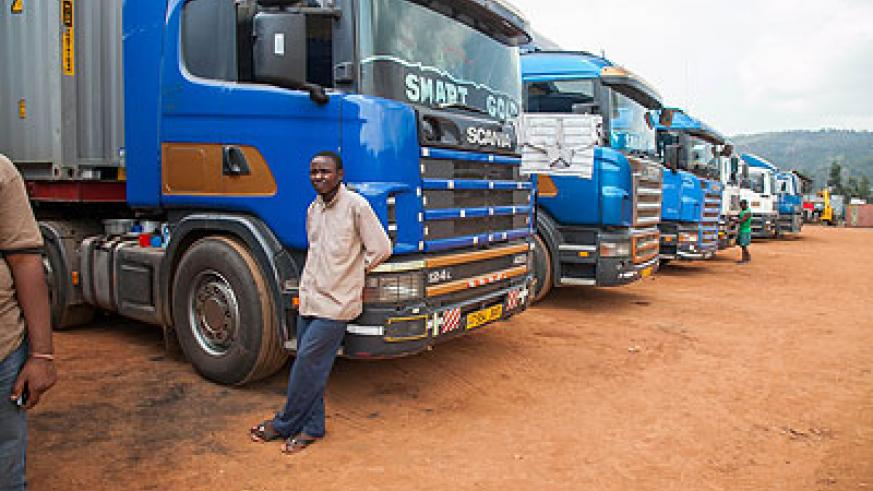 Trucks parked at Magerwa while awaiting clearance with border authorities.   The New Times/ File.