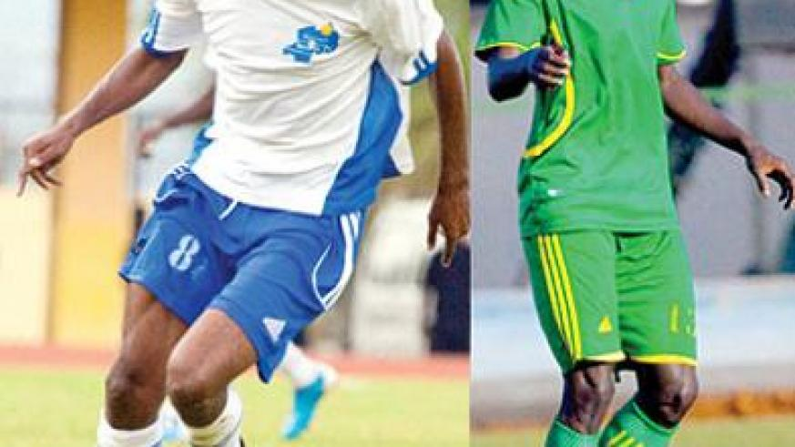 Djamal Mwiseneza (L) will be making his debut under Coach Eric Nshimiyimana's Amavubi team this Sunday when they face Ethiopia. Mohamed Mushimiyimana (R) is another entertaining midfielder to watch. The New Times /T. Kisambira.