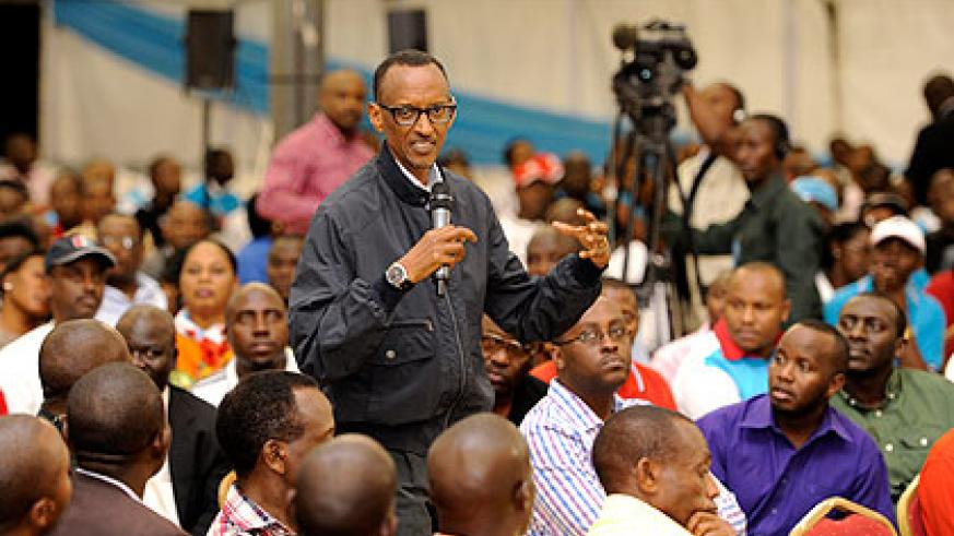 President Kagame speaks to the congregation of RPF leaders during the meeting in Kigali on Saturday. The New Times/ Village Urugwiro.