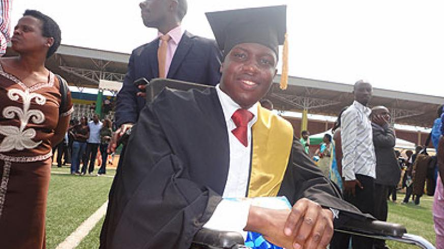Irihose was among the graduates despite having lost hope after he was seriously injured in 2010.  The New Times /Jean Pierre Bucyensenge
