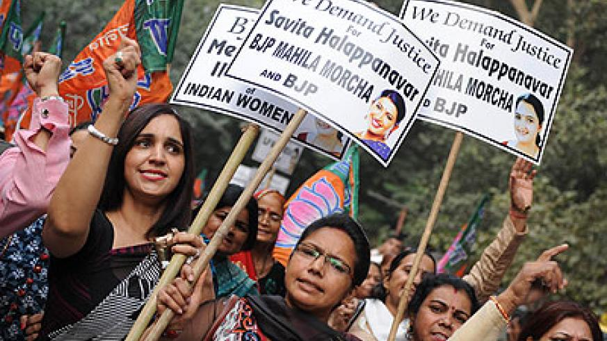 Savita Halappanavar's supporters protested in front of the Irish Embassy in New Delhi in November. Net photo.